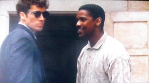 """Jeff with Denzel Washington in, """"Heart Condition""""."""